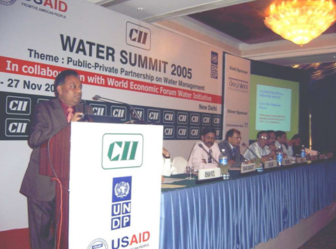 Dr. B Chakravorty, MD of Genesis delivering plenary lecture at Confederation of Indian Industries at Delhi